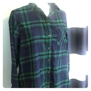 Old Navy | Blue and Green Plaid Flannel